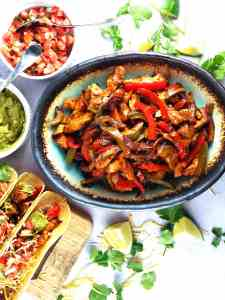 Sheet Pan Fajitas with lime and cilantro