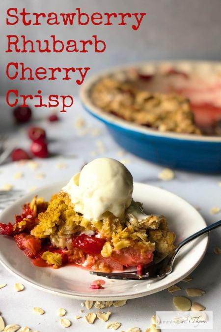 Summer Fruit Crisp with Strawberries, Rhubarb and Cherries - perfectly sweet and tart with a buttery crisp!