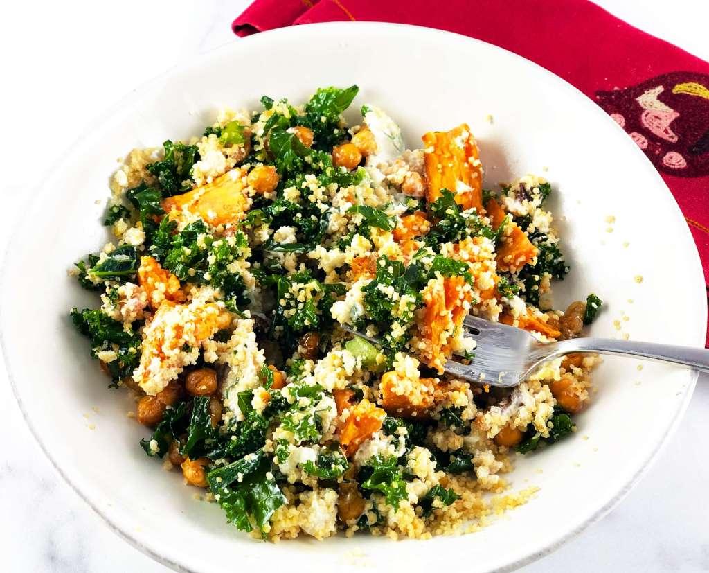 Greek Bowl with Sweet Potato and Kale salad