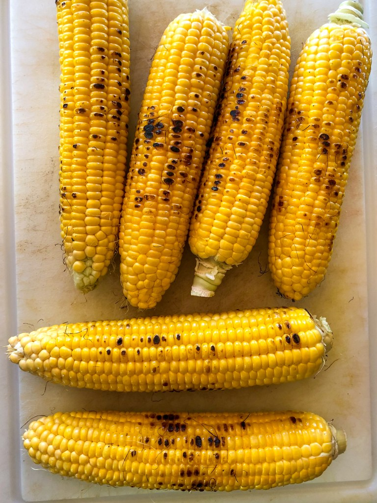 Process shot of Grilled Corn
