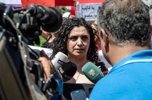 Bouchra Khoury (one of Roula's neighbors) speaking at the Protest Halba, Akkar.