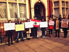 Protest in front of the Lebanese Embassy in London. Posted by https://twitter.com/Taramikhael/status/442281449556049920/photo/1