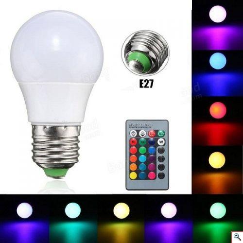 RGB LED ΛΑΜΠΑ ΜΕ ΤΗΛΕΧΕΙΡΙΣΤΗΡΙΟ & ΕΝΑΛΛΑΓΗ 16 ΧΡΩΜΑΤΩΝ & ΛΕΥΚΟ ΦΩΣ 3W E27 13X7CM  RGBW-E27