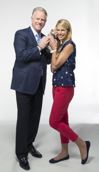 """Beth Stern and Boomer Esiason celebrate Kitten Bowl II and its """"players"""".  Copyright 2015 Crown Media United States, LLC/Photographer: Marc Lemoine"""