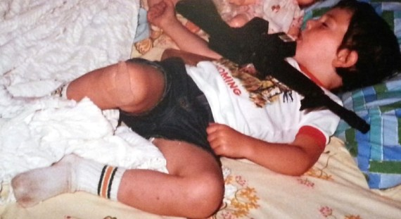 I know. I'm a girl and the photo shows a future Marine who had a habit of sleeping with all his new toys.
