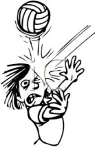Man Hit With Volleyball Cartoon