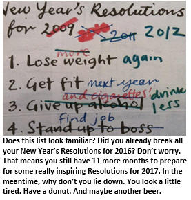 New Years Resolutions - the list