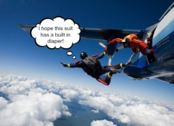 Skydivers jumping from airplane