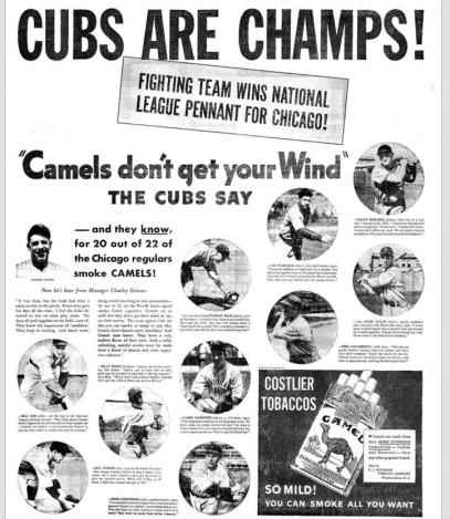 """Which is more unbelievable? """"Cubs Are Champs"""" or """"Camels don't get your wind""""?"""