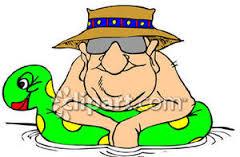 a old man in pool-hat-floatie