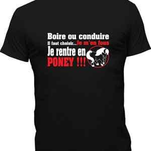 T-Shirt Humoristique Je Rentre En Poney