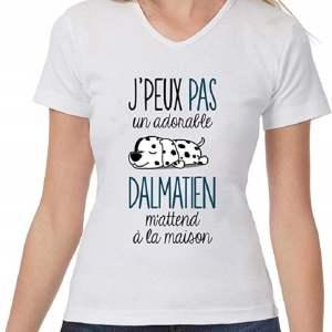 T-Shirt Femme col V Humour Fun Drôle et Mignon - Collection Animaux et Races