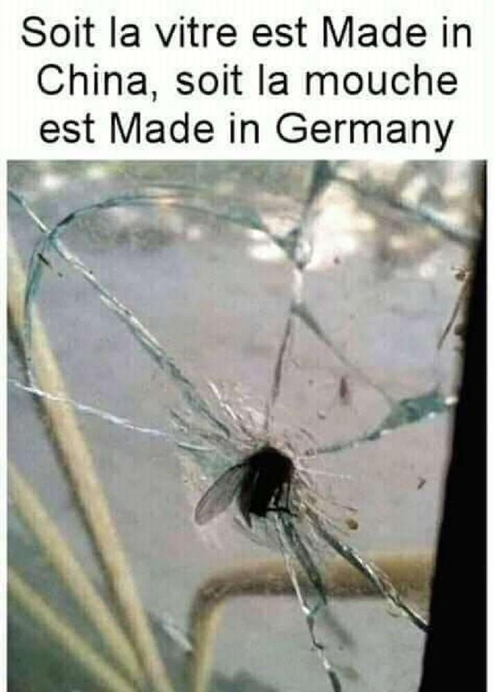Soit la vitre est Made in China