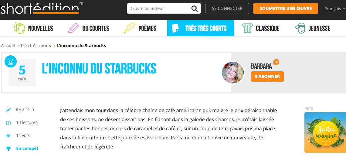Vote pour L'inconnu du Starbucks au Concours Faites Sourire des éditions Short