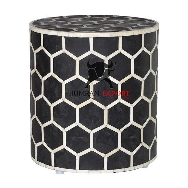 bone inlay honeycomb stool