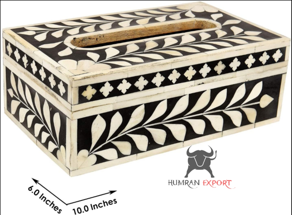 bone inlay tissue box black