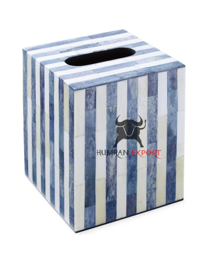 bone inlay tissue box blue