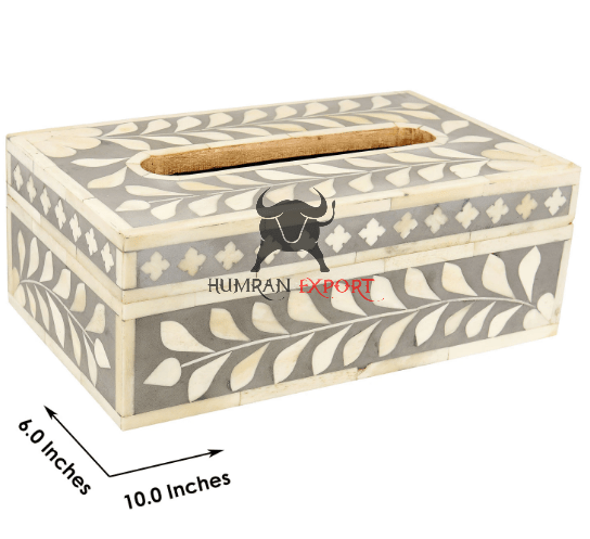 bone inlay tissue box floral