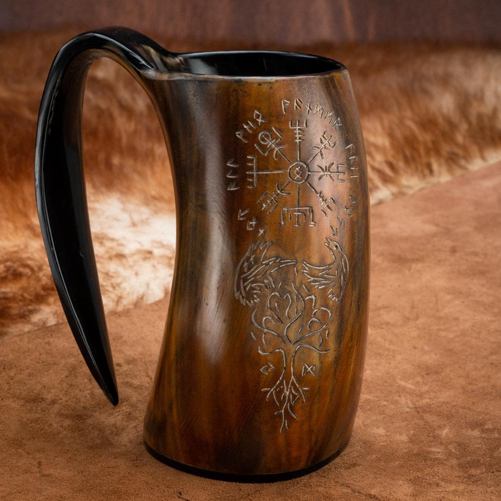burn horn mug with vegvisir raven and tree of life engravings viking drinking horn