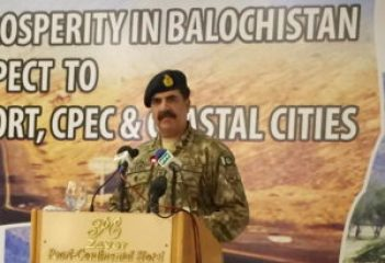 "GWADAR: Chief of Army Staff (COAS) General Raheel Sharif addressing the seminar ""Peace& Prosperity in Balochistan & CPEC"". INP PHOTO"