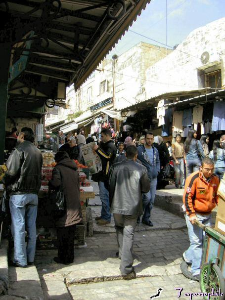 The Christian quarter market of old Jerusalem.