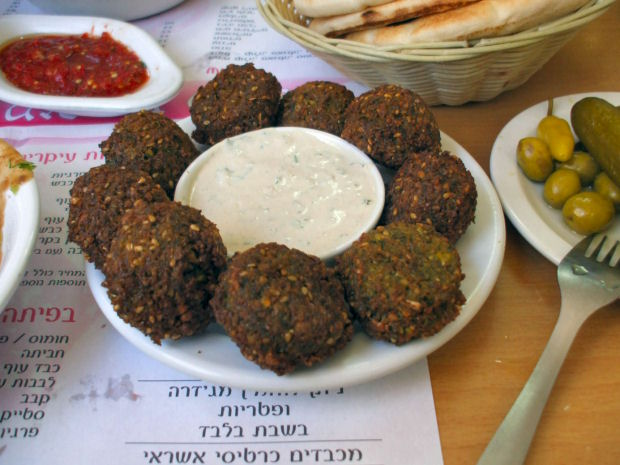 Falafel and tahini at Hummus Sultan