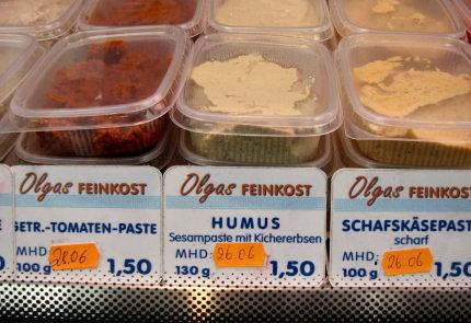 חומוס בקופסא, בשוק המזון האתני בברלין.