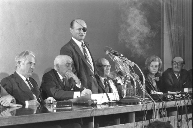 משה דיין בבית סוקולוב, 1971