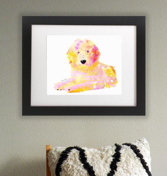 aus Wasserfarben gemaltes Hunde Bild