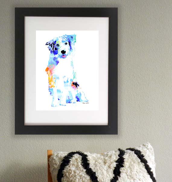 ein Aussie aus Wasserfarben Hunde Bild