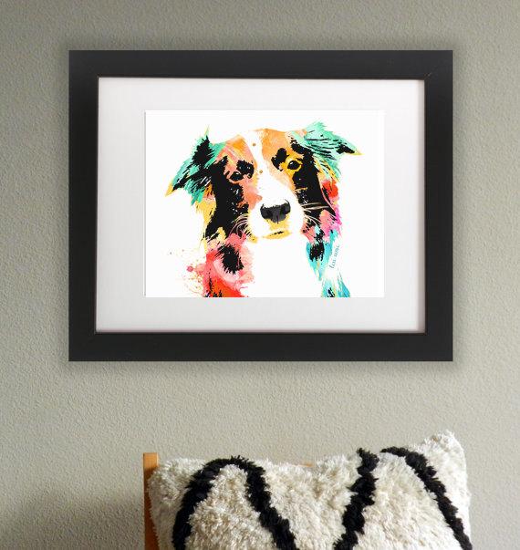 Wasserfarben Hunde Bild mit einem Border Collie