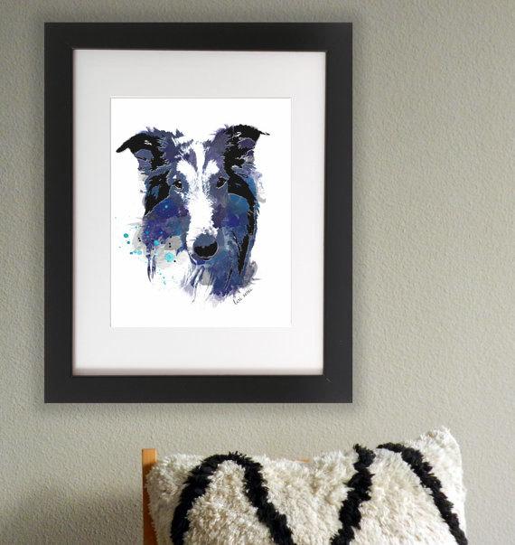Wasserfarben Hunde Bild mit Collie