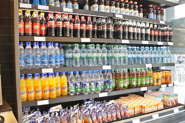 shelves of sugary drinks
