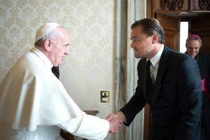 DiCaprio and Pope Francis shake hands in Before the Flood