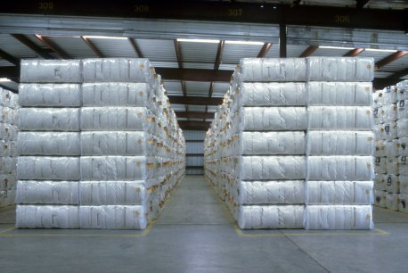 Bales of cotton in a warehouse