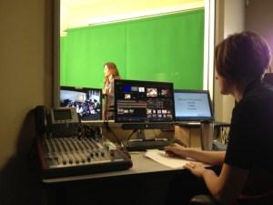 Michelle Mello teaches cotton via video conference on green screen