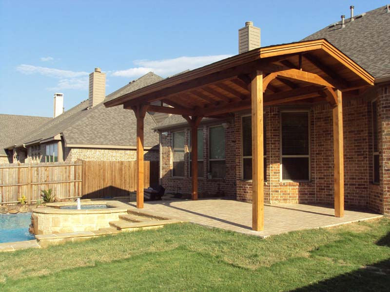 Small Freestanding Shingled Patio Cover  Hundt Patio Covers and Decks