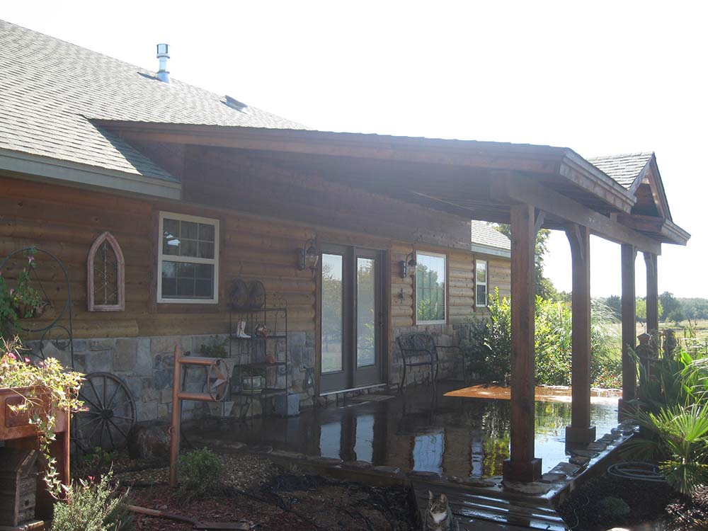 Roofed Backyard Patio Cover with Sunburst  Hundt Patio Covers and Decks