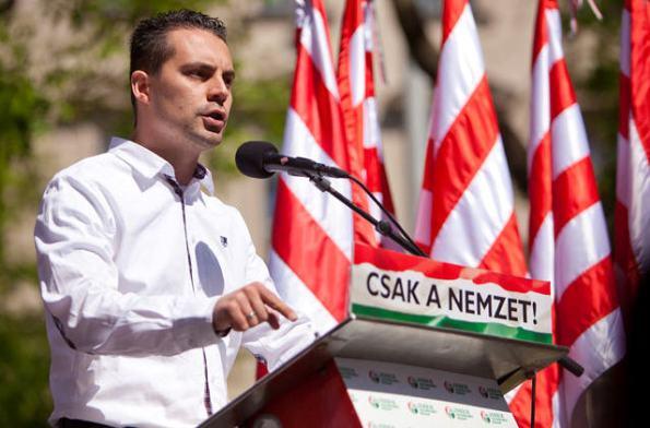 Gábor Vona at today's anti-Zionist demonstration