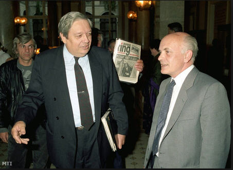 Imre Pozsgay and Zoltán Bíró at the Convention of the National Democratic Allice, 1991 / MTI