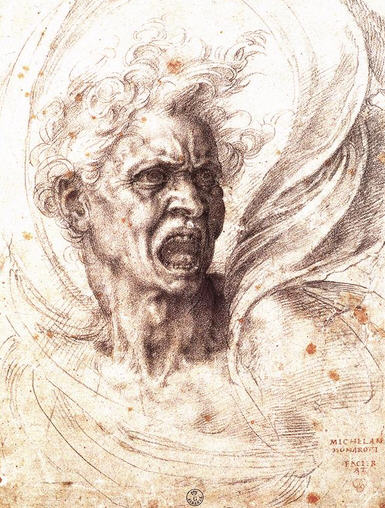 The Damned Soul by Michelangelo c. 1525