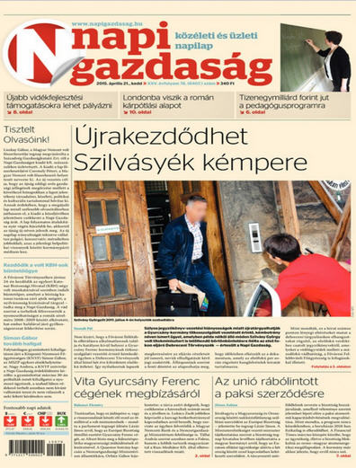 The first issue of Napi Gazdaság under the editorship of Gábor Liszkay