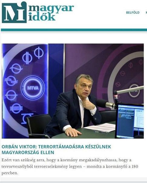 Magyar Idők misinforms public about alleged terror threat