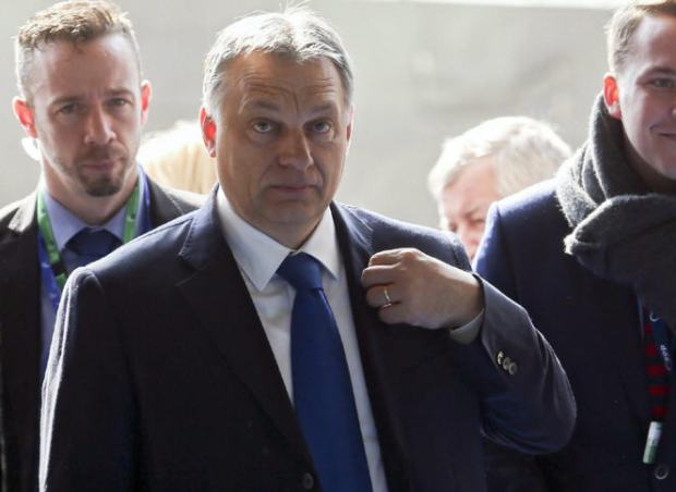 Viktor Orbán arrives at the summit in Brussels