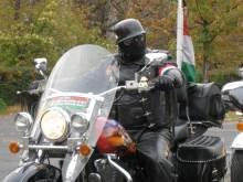 Gentile Biker leader preparing to depart on 1956 Hungarian Revolution rally (10/23/2008).