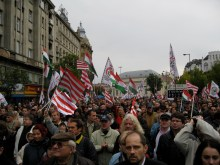 Crowd at radical-nationalist Jobbik party rally on Hungary's March 15 national holiday (3/15/2009).