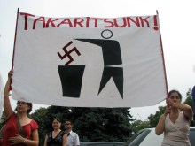 """Let's Clean Up!"" Demonstrators with sign at anti-Hungarian Guard protest (8/25/2007)."