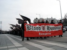 Members of the Hungarian chapter of Blood and Honor at Hungarist rally on Heroes' Square (2/14/2009).