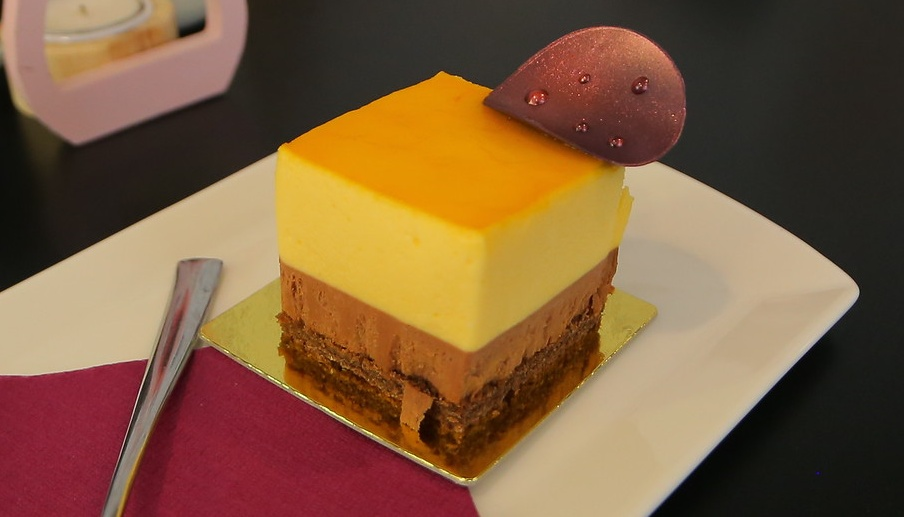 Passion fruit choco mousse cake