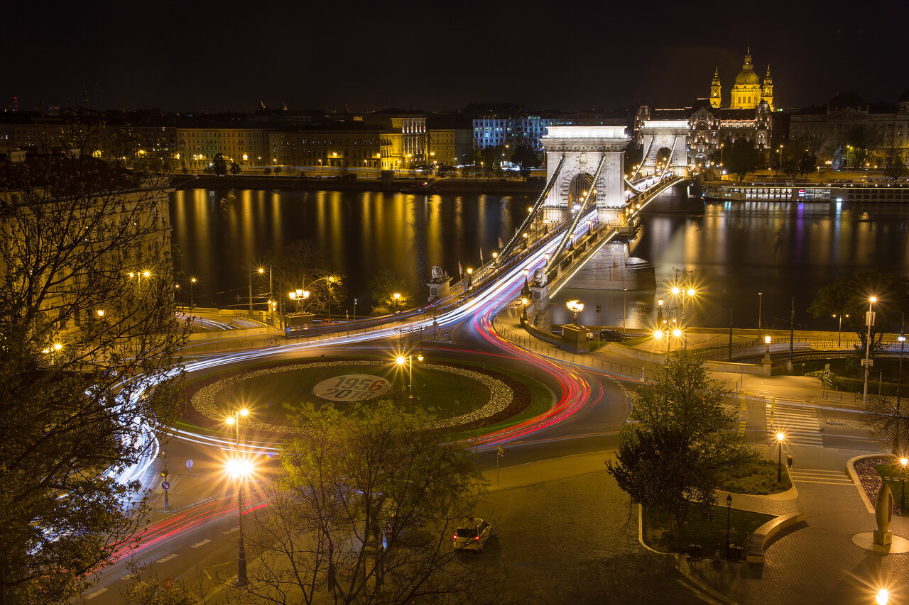 Chain Bridge and St Stephens Basilica from the funicular in Budapest at night